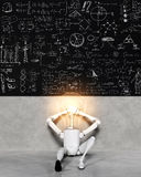 Lamp character relaxed shows many solutions Stock Photos