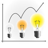 Lamp chart. Lamp business chart to success Royalty Free Stock Photo