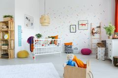 Lamp in child`s bedroom interior Royalty Free Stock Photo