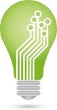 Lamp, chip, circuit board, green IT Stock Image
