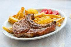 Lamp chop with french fries Stock Image