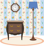 Lamp clock and furniture. Retro furniture in the house Royalty Free Illustration
