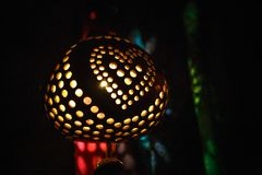 Lamp from coconut, souvenir from the sea from Thailand. royalty free stock photography