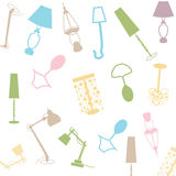 Lamp colored. Set of lamps, black and white icon vector illustration