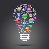 Lamp consisting of apps icons Stock Photo