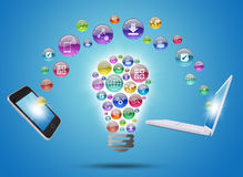 Lamp consisting of apps icons, phone and laptop royalty free illustration