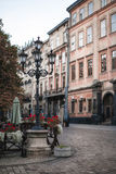 Lamp on the corner of square of Lviv city Stock Image