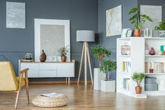 Lamp in the corner. Wooden lamp placed in the corner of living room interior with fresh potted plants, gallery and books stock image