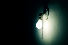 Lamp in the dark. Bulb and retro lamp in the dark