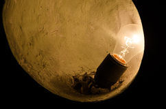 Lamp in the dark. Dirty and dusty lamp in the dark Royalty Free Stock Photos