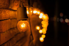Lamp decorated on wall. Stock Photos