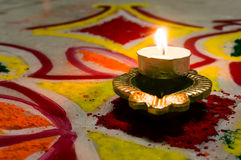 Lamp (diya) for diwali. Lamp (diya) that is lit to celebrate Diwali. Lighting the lamp is a symbol of victory over darkness (evil) and bringing good into our Stock Photos