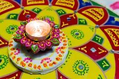 Lamp (diya) voor diwali stock foto's