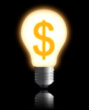 The lamp with dollar concept Royalty Free Stock Photo