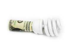 Lamp and dollar Royalty Free Stock Photo