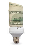 Lamp with dollars Royalty Free Stock Photos