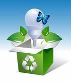 Lamp-in-doos-met-blad-en-vlinder Royalty-vrije Stock Afbeeldingen