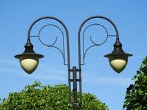 Lamp, double, black, park, day. Lamp, double, black park day bubbles white Royalty Free Stock Photos