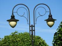 Lamp, double, black, park, day. Lamp, double, black park day bubbles white Stock Photos
