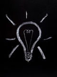 Lamp, drawn on blackboard Stock Photos