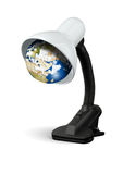 Lamp with earth instead electric bulb,  eco Energy Save Concept Royalty Free Stock Images