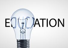 Lamp and educations text. On a white background royalty free stock photo