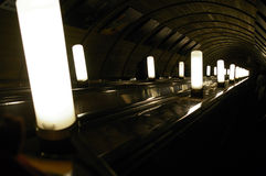 Lamp in a escalator of Moscow. Stock Photos