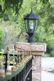 Lamp on fence wall Royalty Free Stock Images