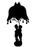 Lamp with figurines silhouette Royalty Free Stock Photos