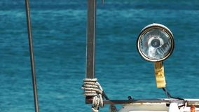 Lamp on Fishing Boat stock footage