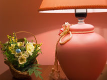 Lamp with flower composition. Interior with lamp and flower basket Royalty Free Stock Images