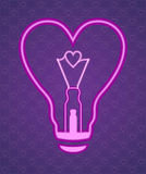 The lamp in the form of heart. Image lamp as a heart. Suitable for greeting cards on Valentine's Day. Vector Image. All elements on layers Stock Photo
