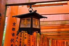 Lamp at Fushimi Inari Shrine, Japan - June 20, 2017:,JP - Red ga Royalty Free Stock Photo