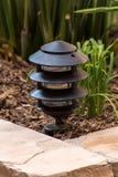 Lamp. Garden light fixture black metal ground level Royalty Free Stock Photos