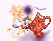 A lamp with a genie on a white background. The finished illustration. Stock Photos
