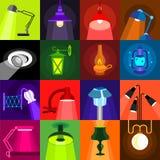 Lamp glow icons set, flat style Royalty Free Stock Image