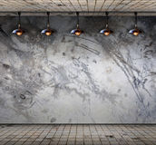Lamp at Grungy concrete wall with floor tile Stock Photography