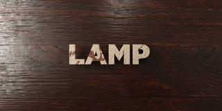 Lamp - grungy houten krantekop op Esdoorn - 3D teruggegeven royalty vrij voorraadbeeld Stock Afbeeldingen