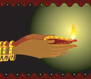 Lamp in hand. Illustration of divine lamp in hand royalty free illustration