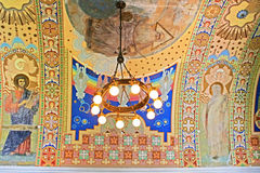 Lamp and hand-painted ceiling in Uzhhorod Castle (Ukraine) Stock Images