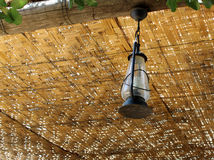 Lamp Hanging from Wicker Roof Royalty Free Stock Image