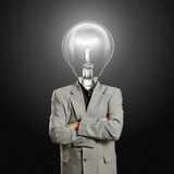 Lamp head businessman stock images