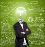 Lamp Head Businessman Stock Image