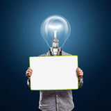Lamp head businessman with empty write board Royalty Free Stock Image
