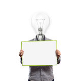 Lamp head businessman with empty write board. Lamp head businessman holding empty write board in his hands Stock Photos