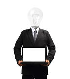 Lamp head businessman holding computer laptop PC Stock Photography