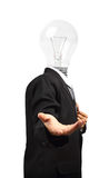 Lamp head businessman open palm hand gesture Royalty Free Stock Photo