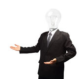 Lamp head businessman open palm hand gesture Stock Photo