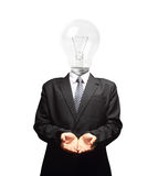 Lamp head businessman open palm hand gesture Stock Photography