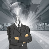 Lamp Head Businessman In Suit Royalty Free Stock Images